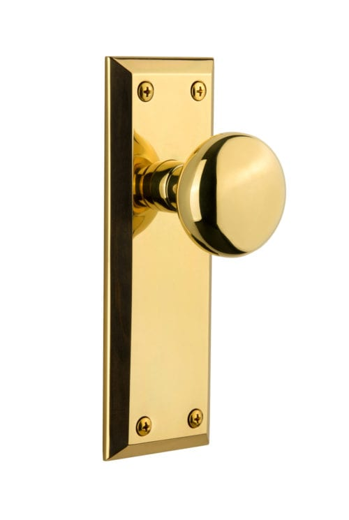 Fifth Avenue Plate with Fifth Avenue Knob(Polished Brass)